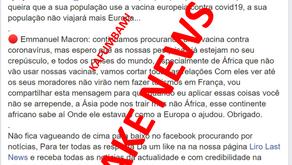 """FAKE NEWS: """"País africano que recusar vacina europeia contra Covid-19 não viajará para Europa"""""""