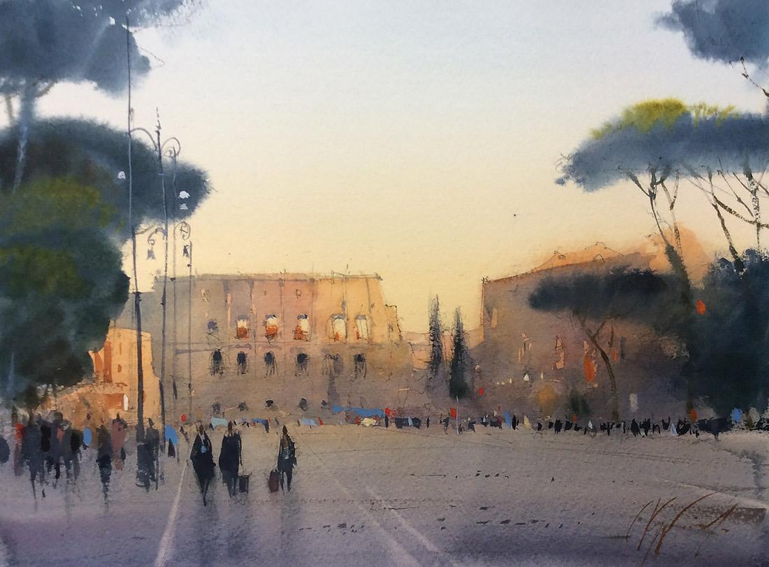 Рим. Закат на Виа деи Фори Империали