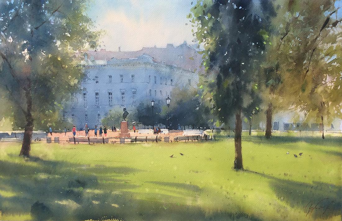 Утром в Александровском саду