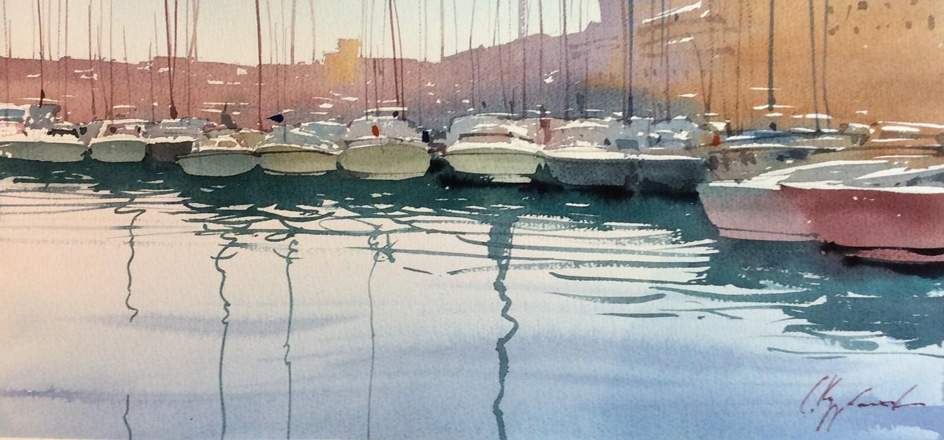 Марсельский порт утром