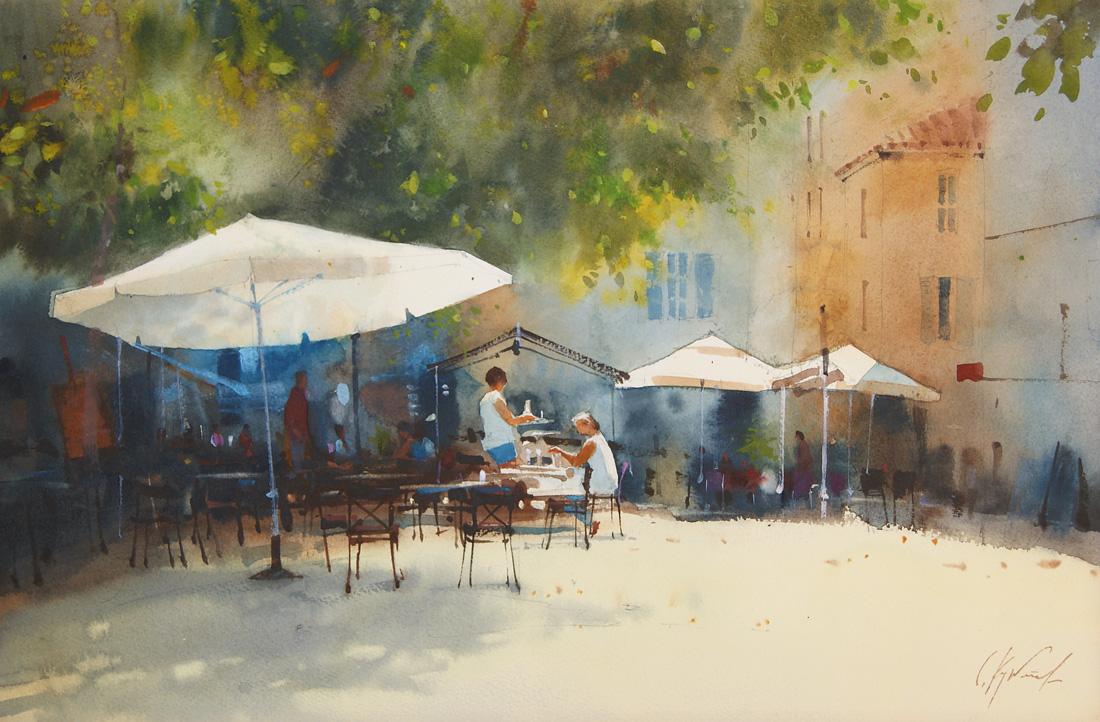 Летнее кафе. белые зонтики