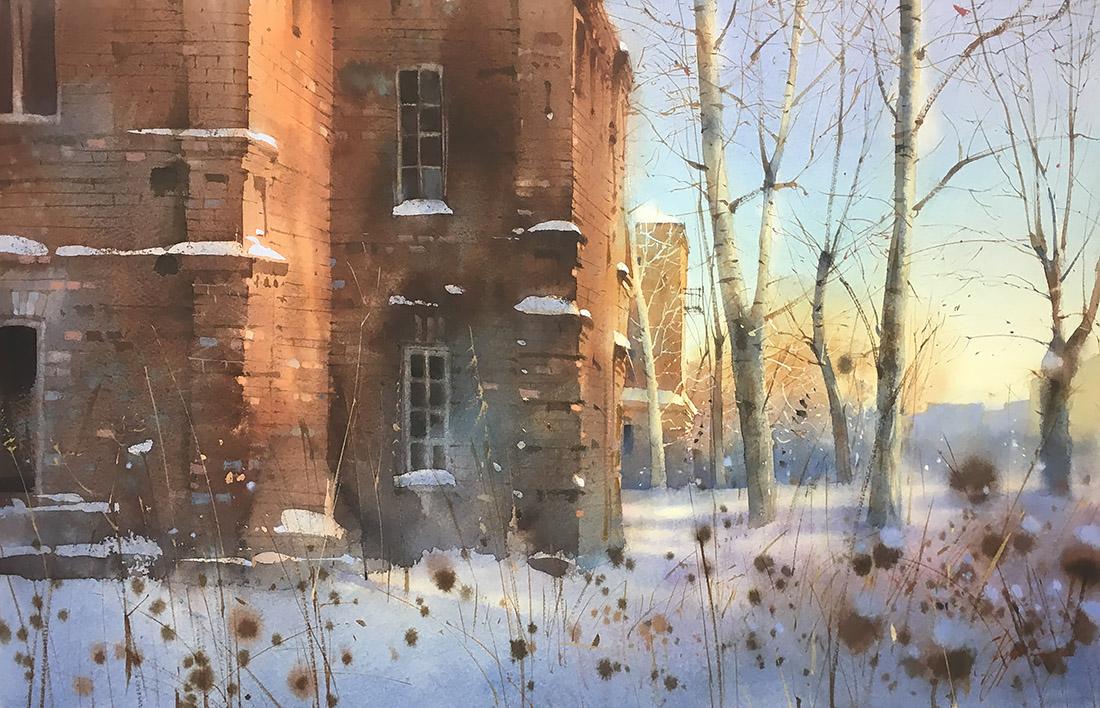 Зимний вечер возле старого дома