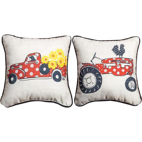 Polkadot Truck/Tractor Pillow