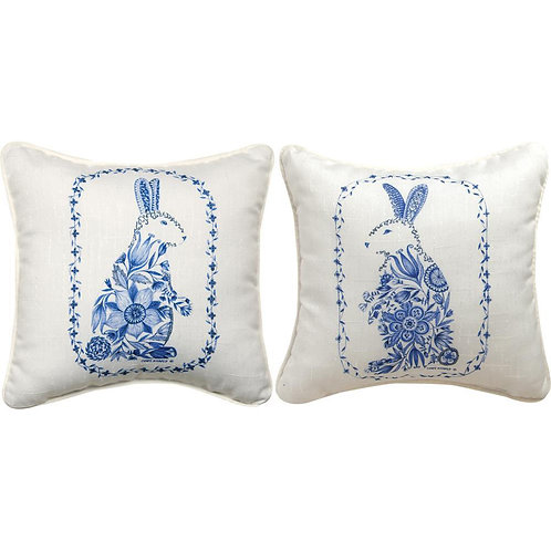 Blue Easter Rabbit Pillow