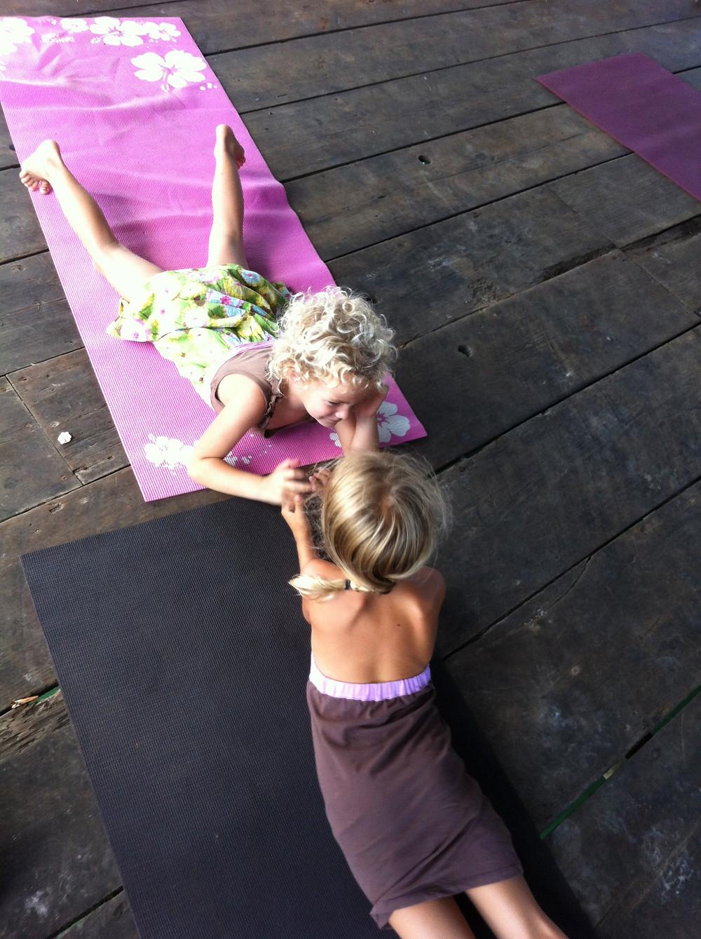 Piper and Bine in yoga class