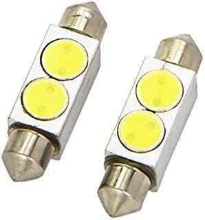 LED Festoon Bulb, Length: 41mm, 2 LED HP, White, Pair