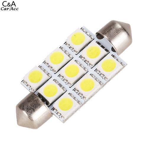LED Festoon Bulb, Length: 41mm, 9 LED, White, Pair