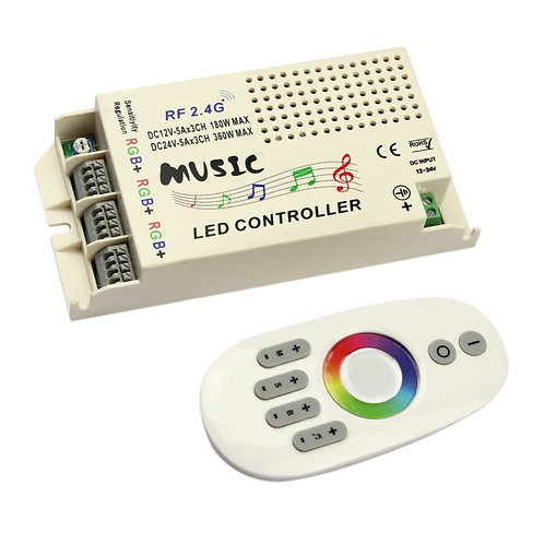 LED RGB strip Music controller, 3 RGB output, Microphone input, DC12/24V
