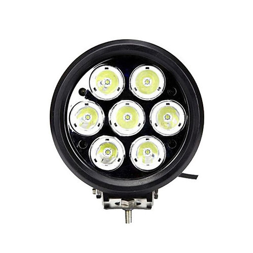 "7"" Round LED Light, 60W, Hi-Low. H4. Epistar, DRL, LM, Chrome, Per pair"