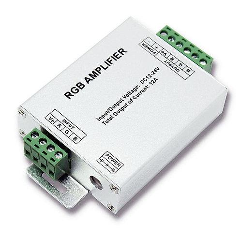 LED RGB Strip Signal Amplifier, 12-24V in(, 4Amp/12-24V output