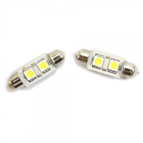 LED Festoon Bulb, Length: 36mm, 2 LED, White, Pair