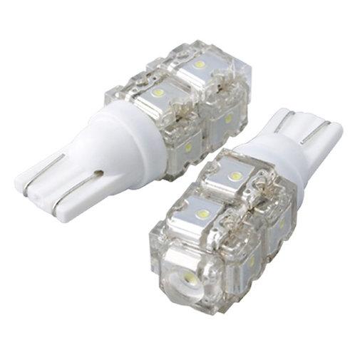 LED Bulb, T10 Fulx, 9 LED, Withe, Pair