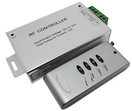 RGB RF Controller, 4 button Remote,12V in, 4A/12V output, screw