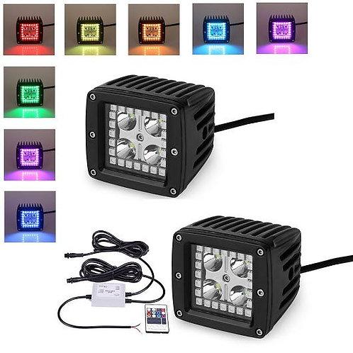 "Square 3"", 3w x 4pcs Epistar, w. RGB remote controller (Options: Floored & Spot)"