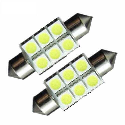 LED Festoon Bulb, Length:  36mm, 6 LED, White, Pair