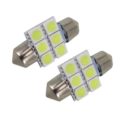 LED Festoon Bulb, Length: 31mm, 6 LED, White, Pair