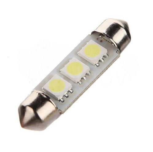 LED Festoon Bulb, Length: 44mm, 3 LED, White, Pair