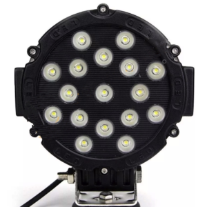 LED Round Light, 51W 7 in (Options: Black/Red/Yellow)