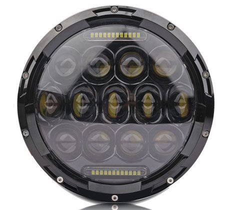 "7"" Round LED Light, 75W, Hi-Low. H4. Cree, DRL, Black house, per pair"