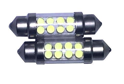LED Festoon Bulb, Length: 36mm, 8 LED LT, White, Pair