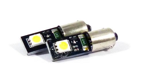 LED Bulb, BA9S, 2 LED, White, Pair