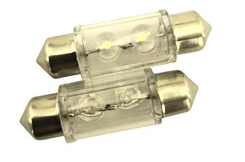 LED Festoon Bulb, Length: 36mm, 2 LED LT, White, Pair