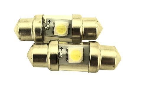 LED Festoon Bulb, Length: 31mm, 1 LED, White, Pair