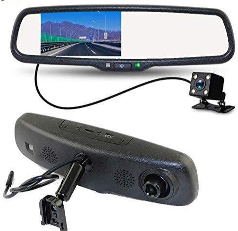 "Rear View Mirror Digital Monitor w. DVR, 4.3"", No Bracket needed, w. TWO cameras"