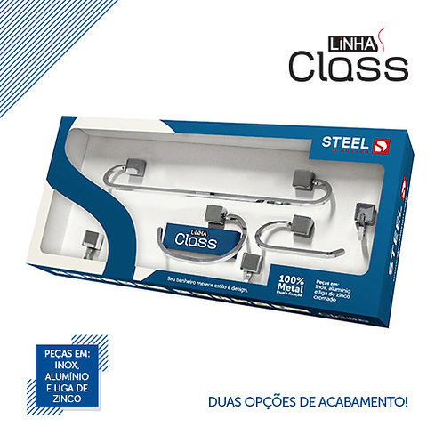 Kit Inox p/ Banheiro 5 Peças K5OX Steel Design