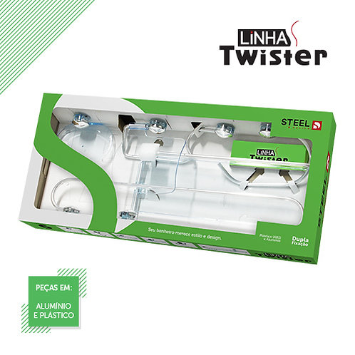 Kit Banheiro Twister 5 Pçs Steel Design