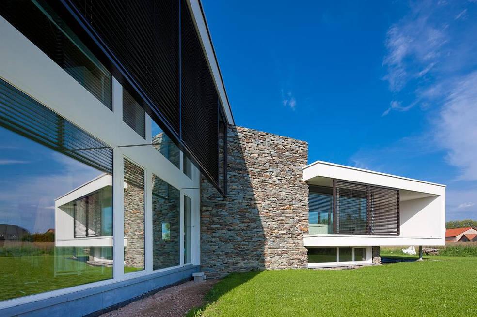 passieve woning passief huis   natuursteen stapelblokken bepleistering