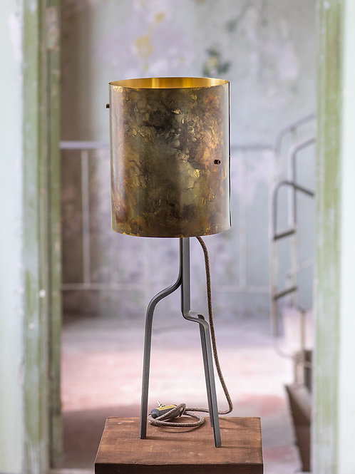 Green Brass Barrel Lamp No. 1-001