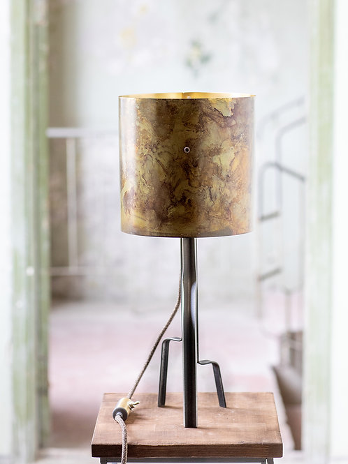 Green Brass Barrel Lamp No. 2-001