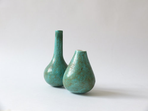 Green and Ochre Vase by Lorena Miguel - set of two