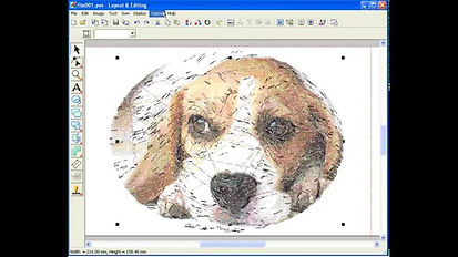 Digitizing a dog in embroidery software