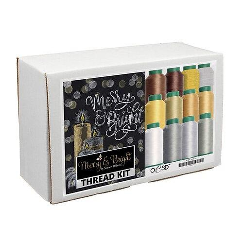 Merry & Bright Tiling Scene White & Gold Thread Kit Only