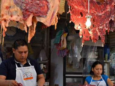 Cured meats in Mexican Streets