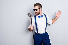 Portrait of handsome attractive singer i