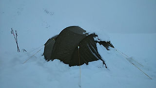 Snow loaded tent