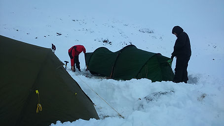 Pitching the tent in Winter