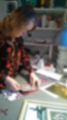 Mona workingon her handmade cardproducts