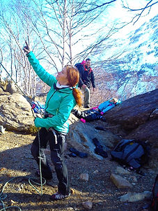 Family rock climbing  in Scotland