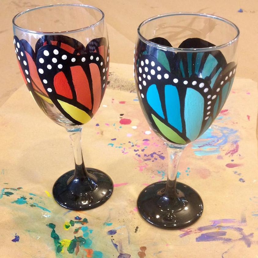 Wine Glass Painting: Butterflies