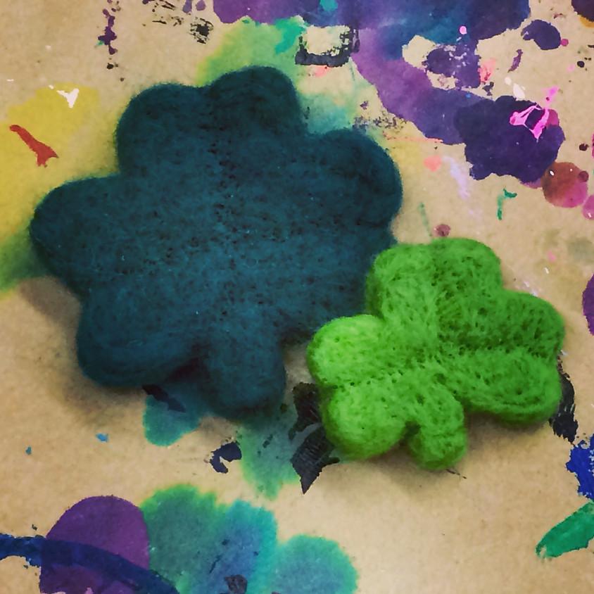 Watercolor and Needle Felted Shamrocks