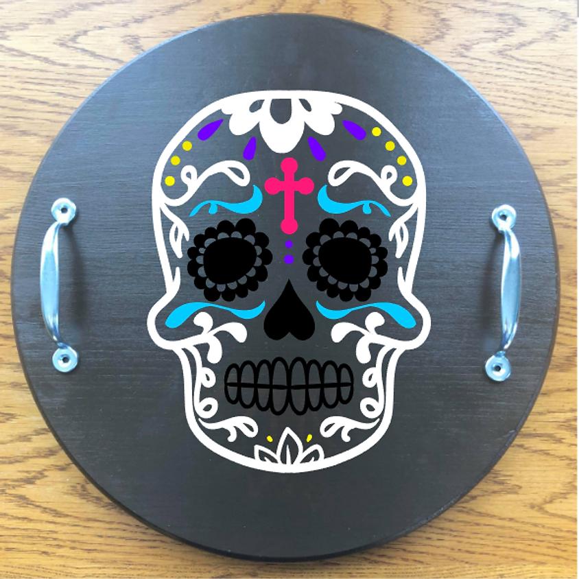 Wood Tray Painting: Sugar Skulls