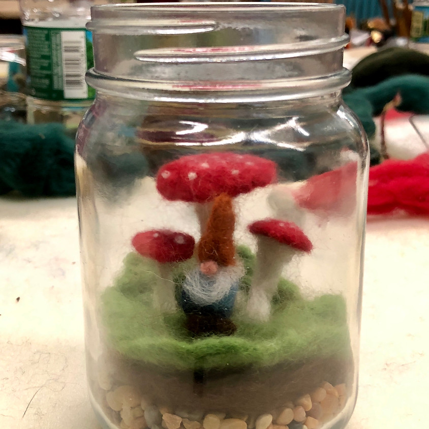 Needle Felted Gnome Terrariums