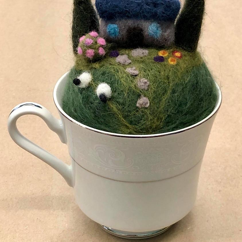 Needle Felted Tea Cup Garden