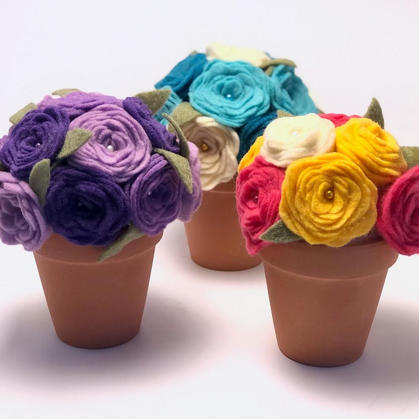 Virtual Felt Flower Pot Class
