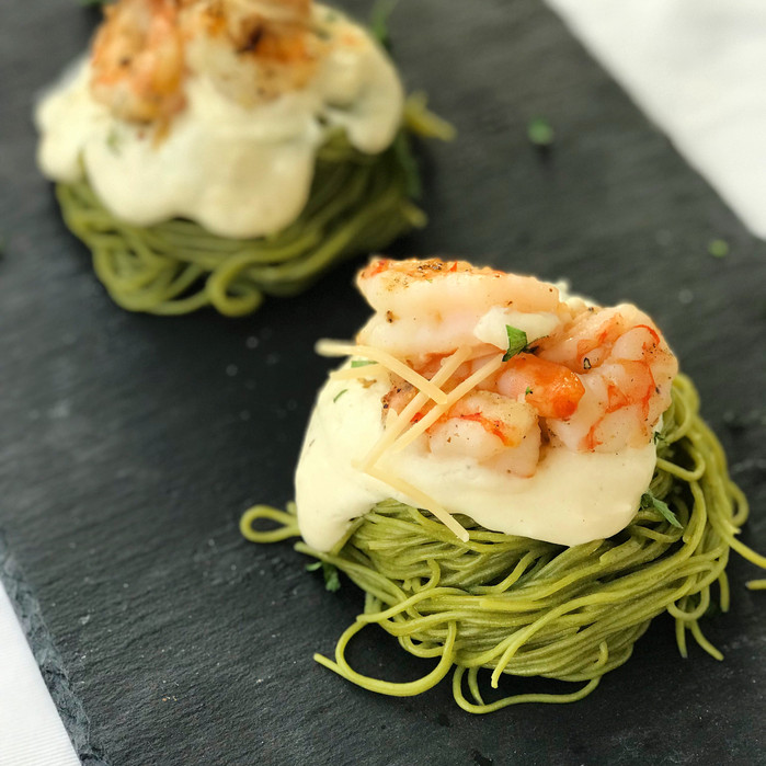 Spinach Pasta Nests with Garlic-Parmesan cream sauce and Smoked Shrimp
