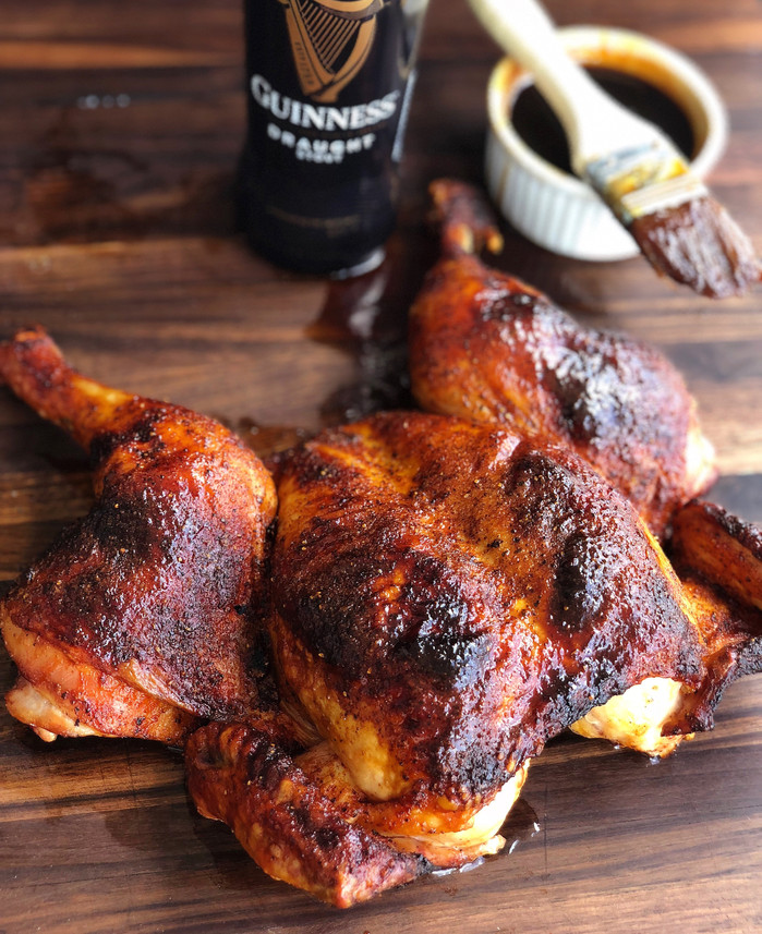 Spatchcocked Chicken with Guinness Glaze